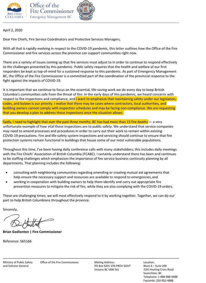 COVID-19 Letter from BC Fire Safety Commissioner